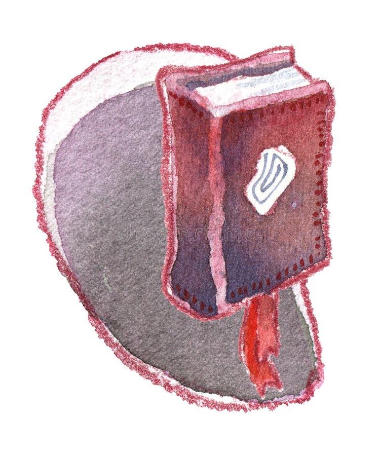 Libro di mistero dell'acquerello con il segnalibro rosso su bianco royalty illustrazione gratis