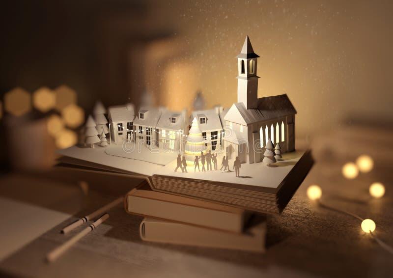Libro di Natale di pop-up scenico illustrazione di stock
