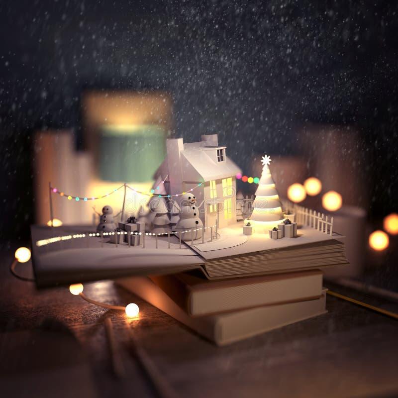 Libro di pop-up di storia di Natale illustrazione vettoriale
