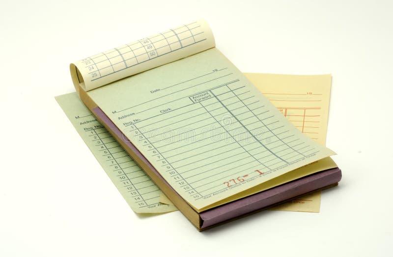 Libro di ricevuta fotografie stock libere da diritti