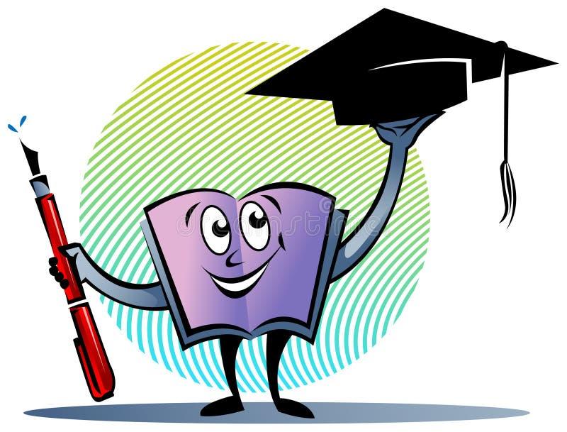 Libro di testo con la penna ed il cappuccio di graduazione illustrazione di stock