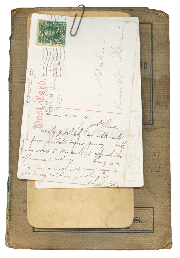Libro e cartoline antichi fotografia stock