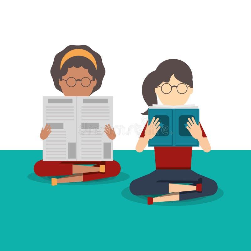 Libro e giornale di lettura della gente illustrazione di stock