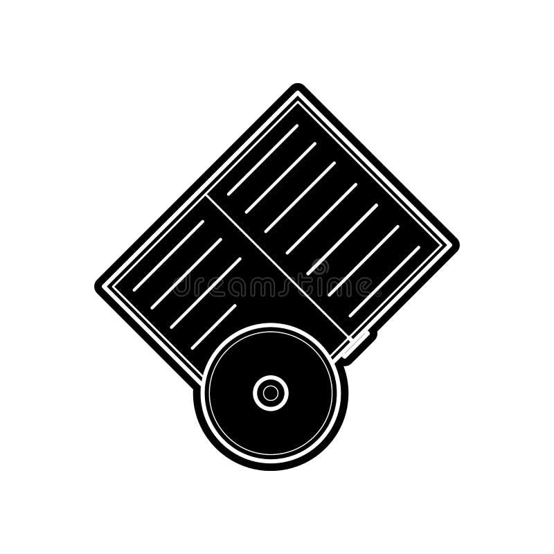 Libro e icono CD Elemento de la educaci?n para el concepto y el icono m?viles de los apps del web Glyph, icono plano para el dise stock de ilustración