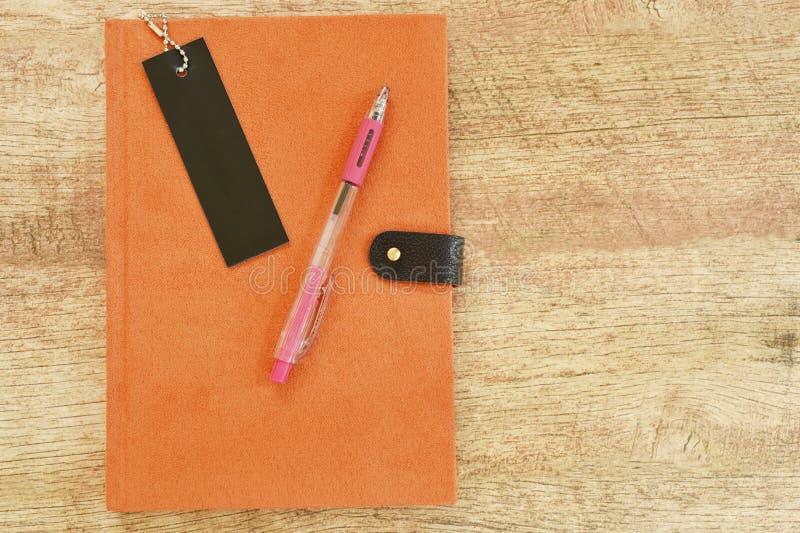 Libro e penna del diario sulla tavola di legno fotografia stock libera da diritti