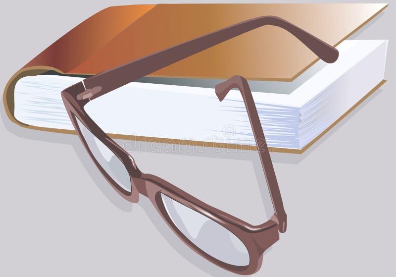 Libro e uno spettacolo illustrazione di stock