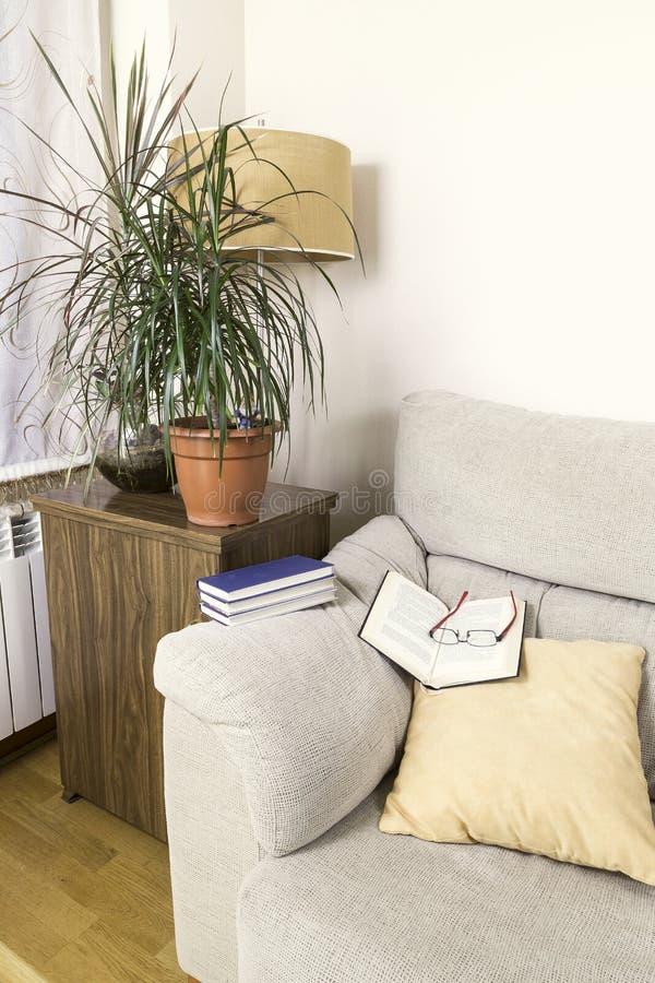 Libro e vetri sulla cima del braccio di un sofà immagine stock libera da diritti