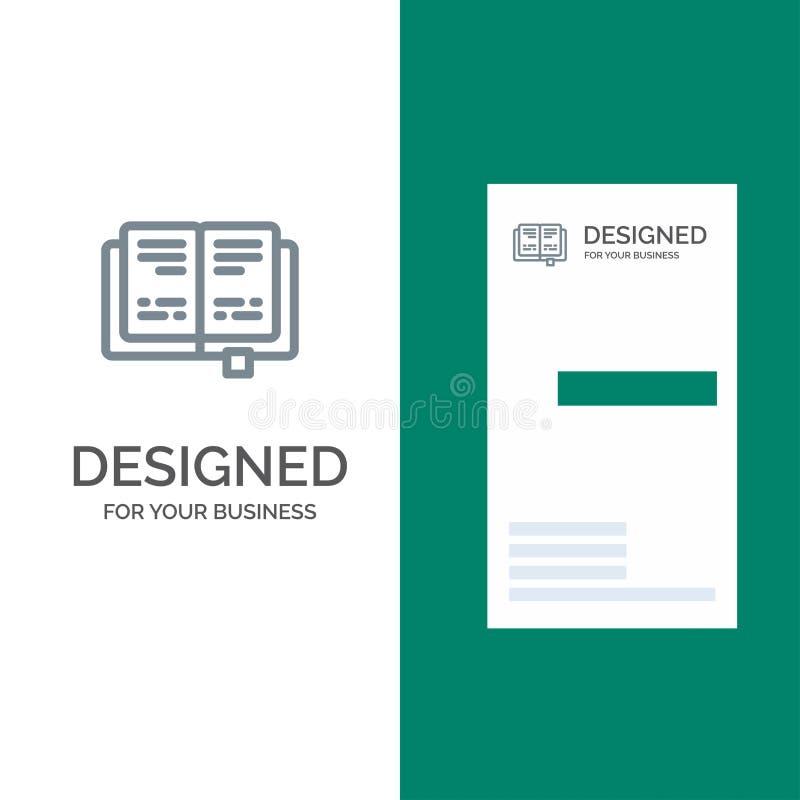 Libro, educación, conocimiento Grey Logo Design y plantilla de la tarjeta de visita stock de ilustración