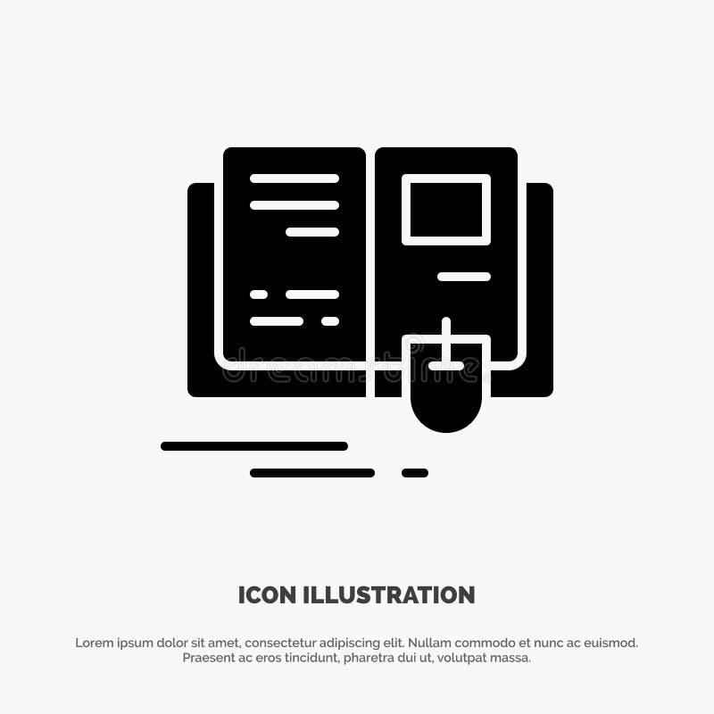 Libro, educación, conocimiento, vector sólido del icono del Glyph del ratón ilustración del vector