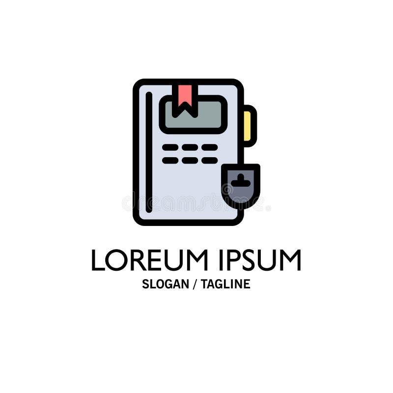 Libro, educación, negocio Logo Template del conocimiento color plano stock de ilustración