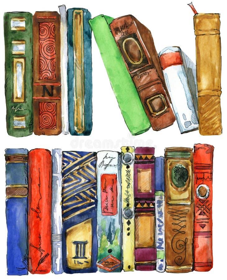 Libro Ejemplo de la acuarela del libro Fondo del estante de libros stock de ilustración
