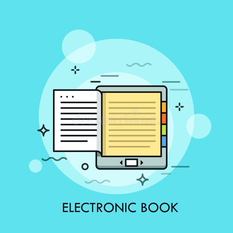 Libro electrónico Concepto de dispositivo electrónico moderno o de artilugio móvil para leer, eBook con la exhibición monocromáti ilustración del vector