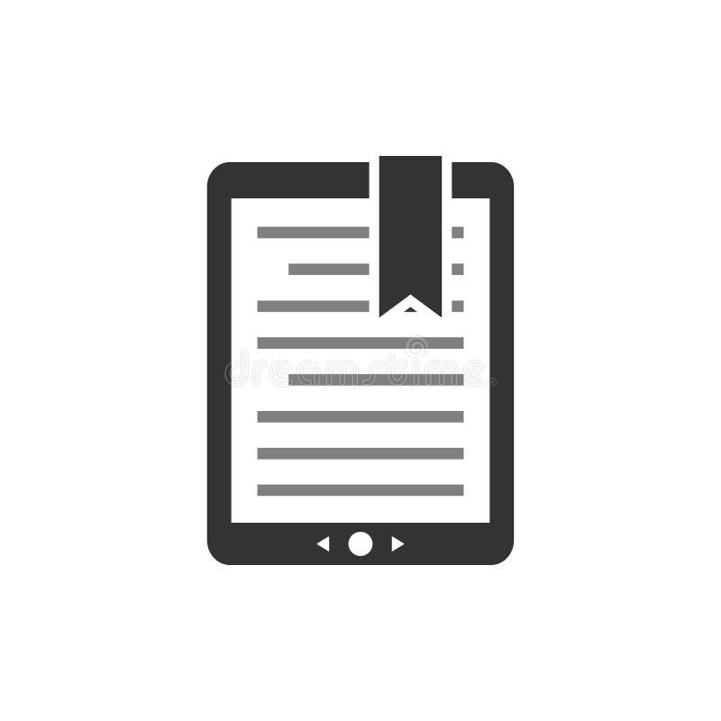 Libro elettronico del touchpad, esposizione del e-lettore con testo e segnalibro Icona di vettore di concetto del libro elettroni illustrazione vettoriale