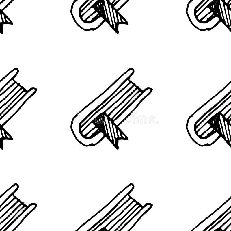 Libro exhausto de la mano incons?til del modelo con un garabato de la se?al Icono del estilo del bosquejo Elemento de la decoraci libre illustration