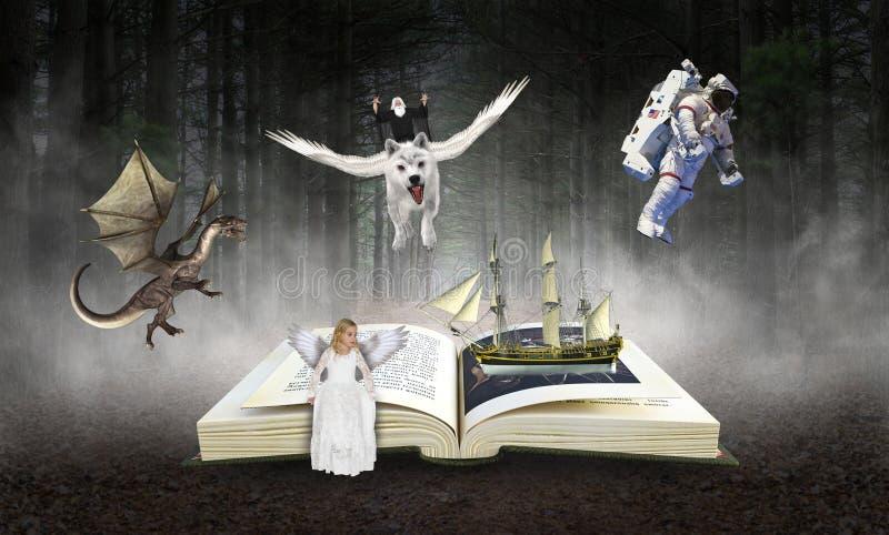 Libro, lettura, immaginazione, libro di fiabe, storie fotografie stock libere da diritti