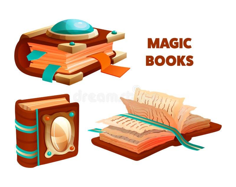 Libro mágico antiguo con encantos y brujería místicos stock de ilustración