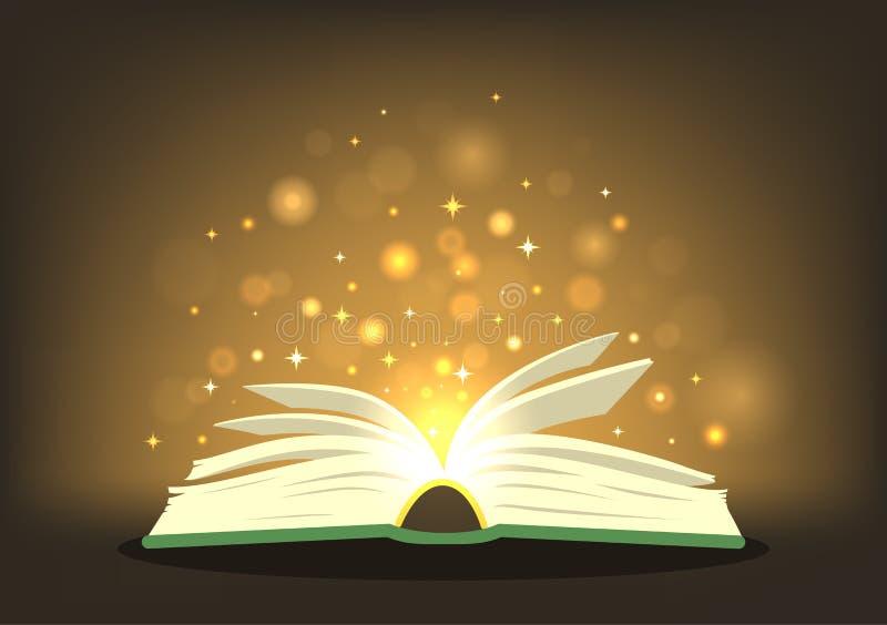 Libro mágico con las luces mágicas stock de ilustración