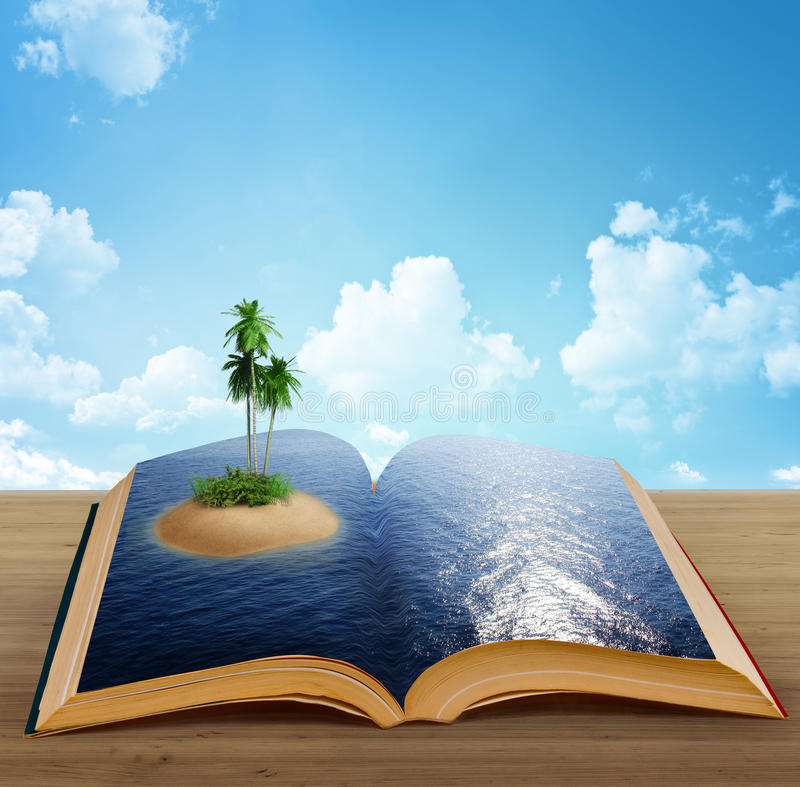 Libro mágico con una isla stock de ilustración