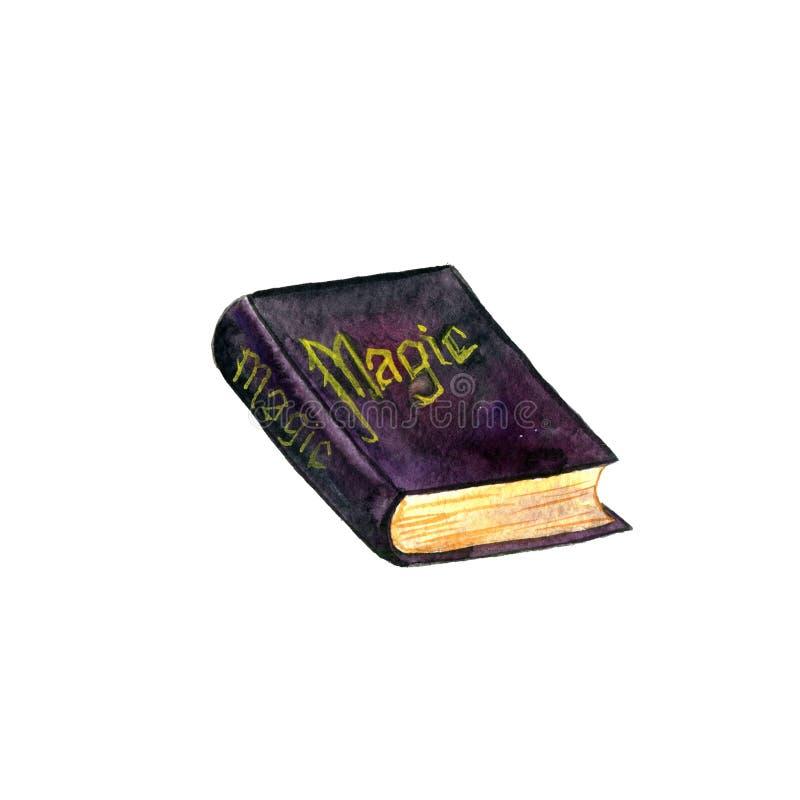 Libro mágico viejo de la acuarela imágenes de archivo libres de regalías