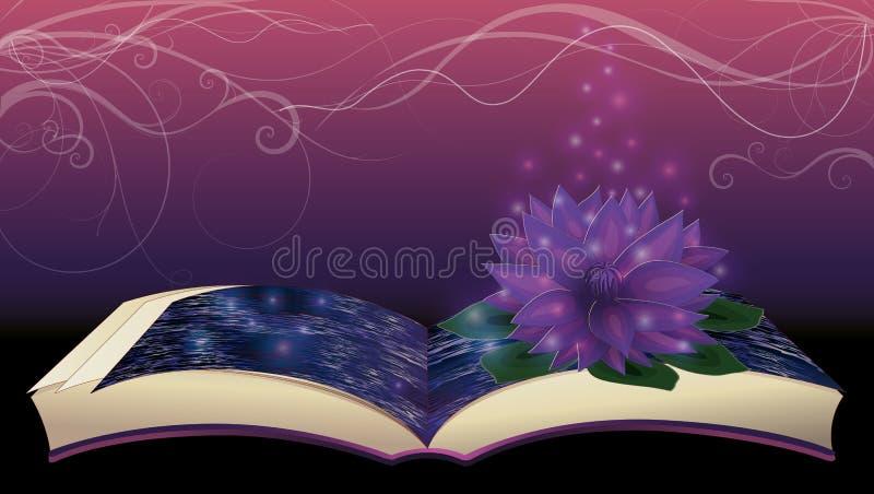 Libro magico con il fiore di loto royalty illustrazione gratis