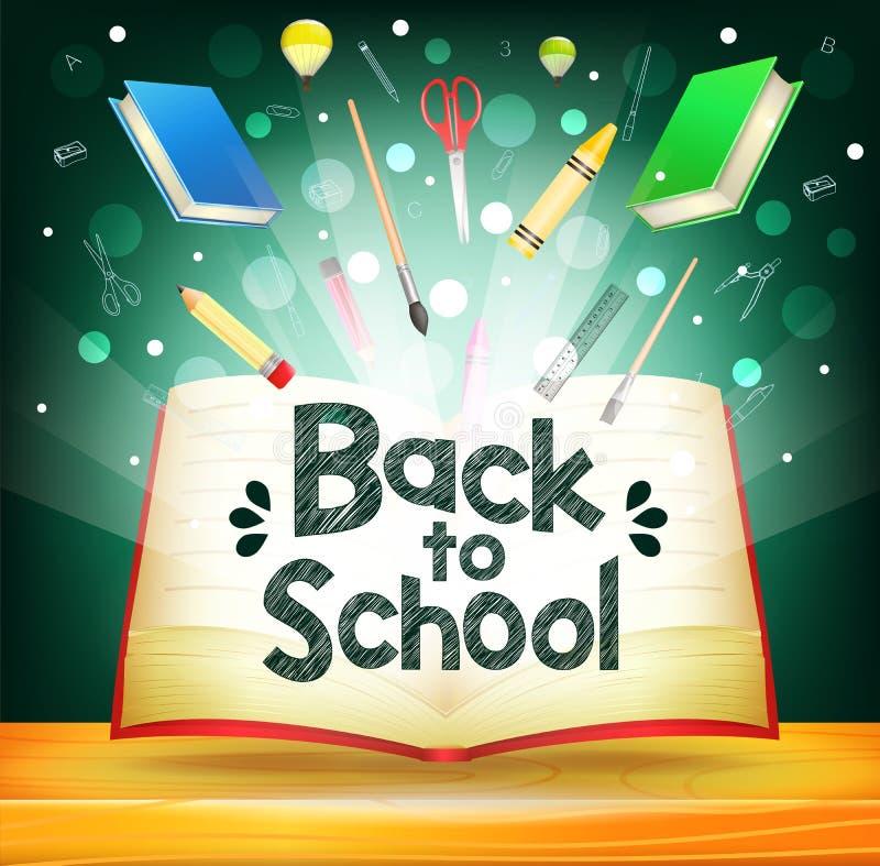 Libro magico di galleggiamento con gli elementi della scuola e di nuovo al testo di scuola illustrazione di stock