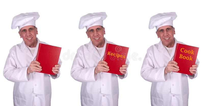 Libro maschio sorridente felice del cuoco di ricette del cuoco unico isolato fotografie stock