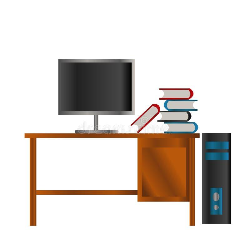 Libro negro azul rojo y pantalla del lcd en la PC de la tabla de madera y de la caja negra y azul libre illustration