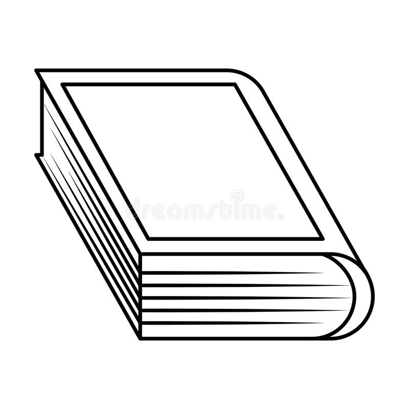 Libro negro de la silueta con la cubierta en blanco stock de ilustración