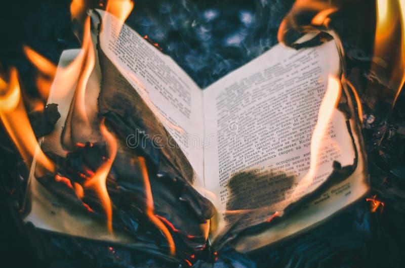 Libro nel fuoco immagine stock