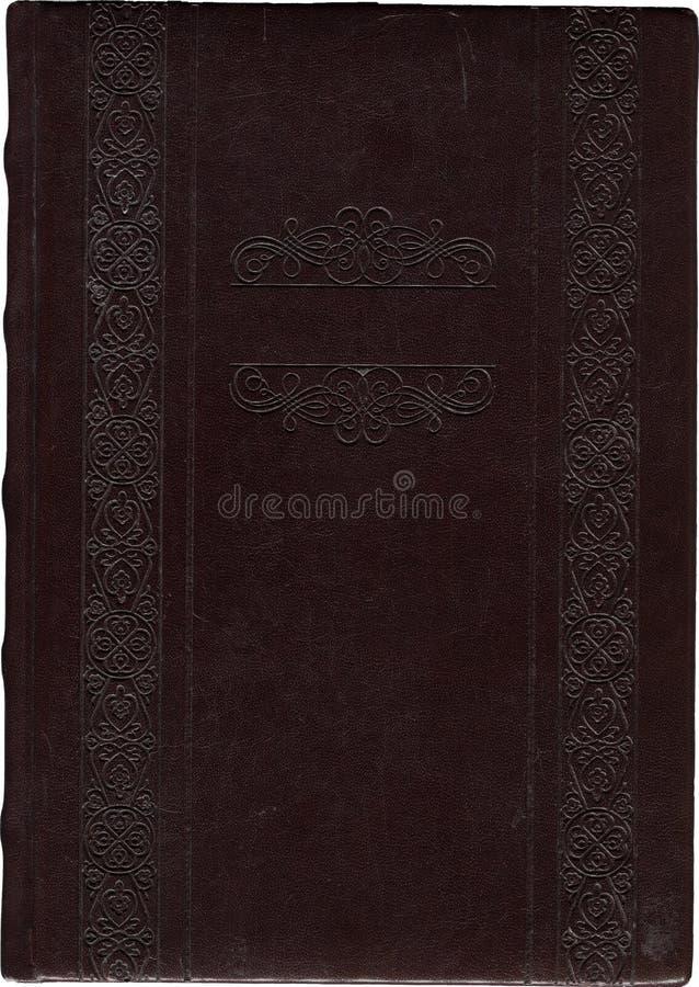 Libro ornamental viejo del cuero marrón oscuro aislado en un blanco fotos de archivo libres de regalías