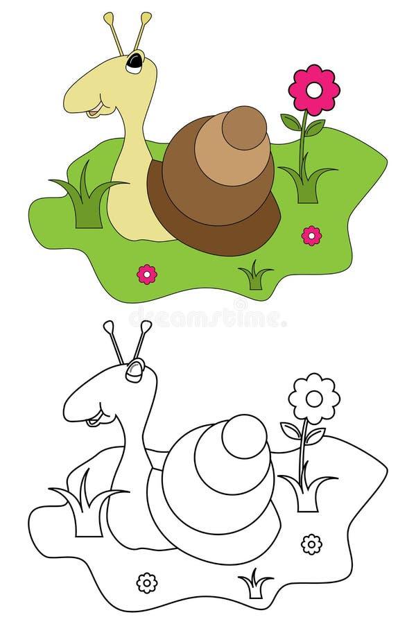Libro para los cabritos - caracol de la paginación del colorante ilustración del vector