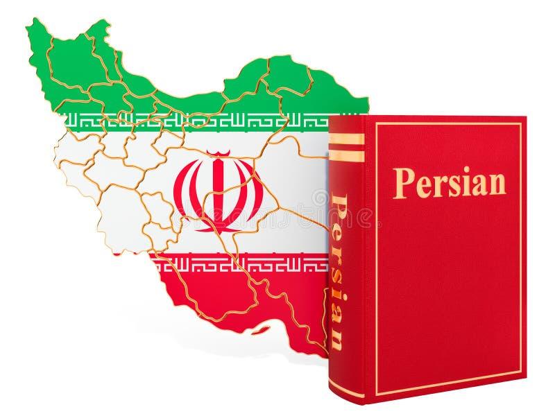 Libro persiano di lingua con la mappa dell'Iran, rappresentazione 3D illustrazione vettoriale