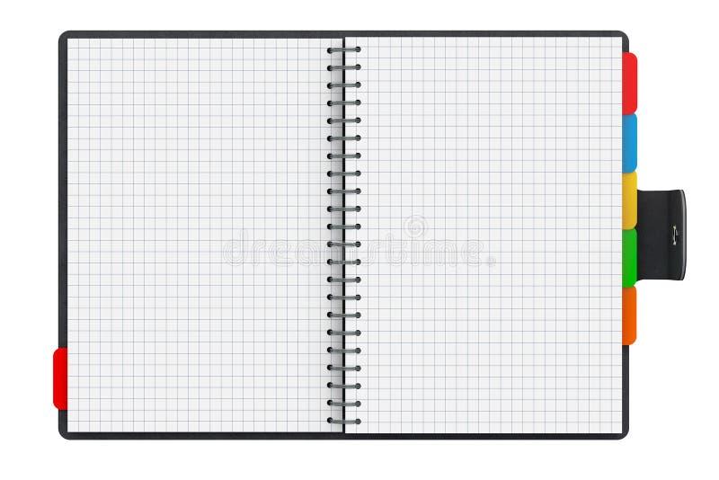 Libro personal del diario o del organizador con las páginas en blanco representación 3d ilustración del vector