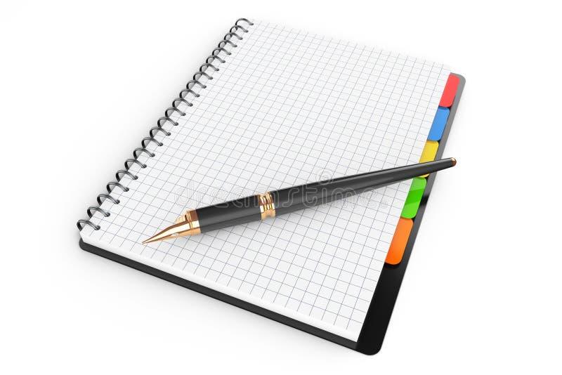 Libro personal del diario o del organizador con las páginas en blanco y la pluma 3d con referencia a stock de ilustración
