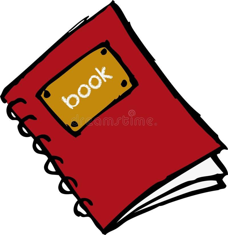 Libro rojo con espiral ilustración del vector