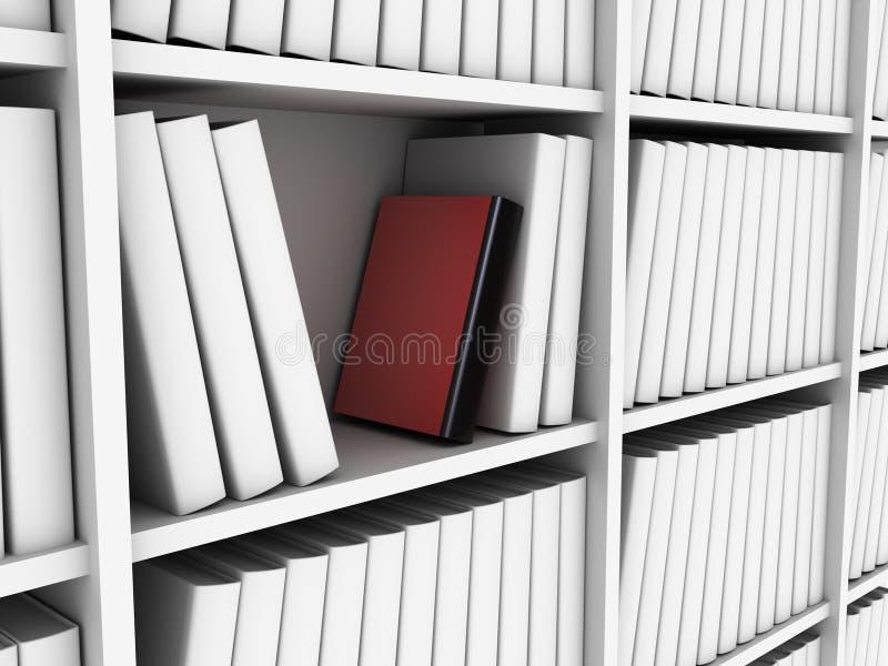Libro rojo en biblioteca ilustración del vector