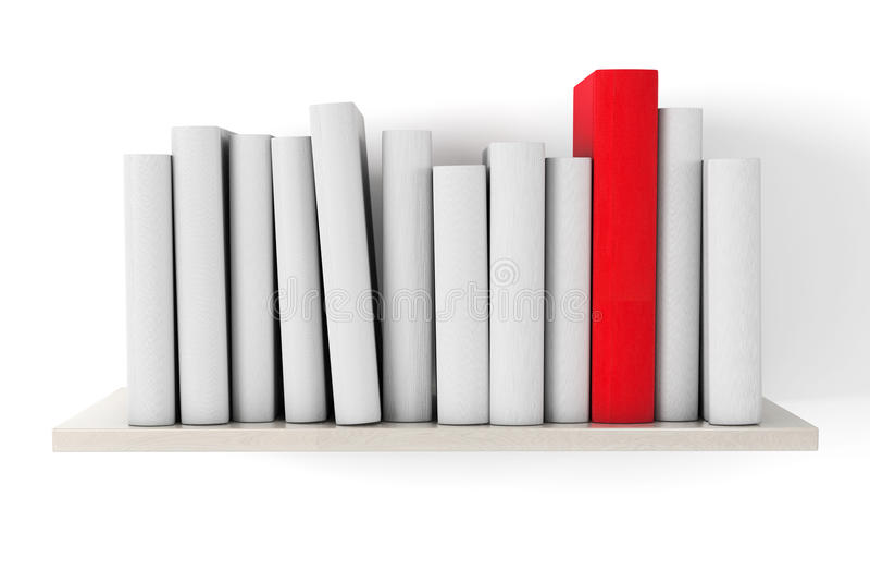 Libro rojo en un estante con otros libros en blanco foto de archivo