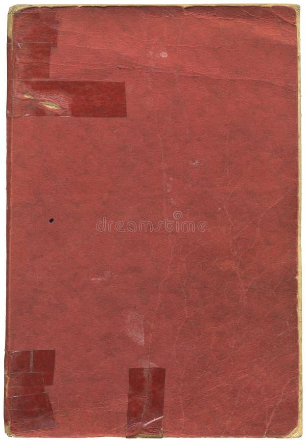 Libro rosso dell'annata con nastro adesivo fotografia stock