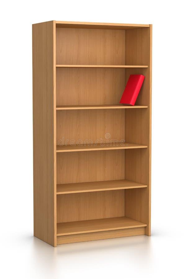 Libro rosso in scaffale per libri vuoto illustrazione vettoriale