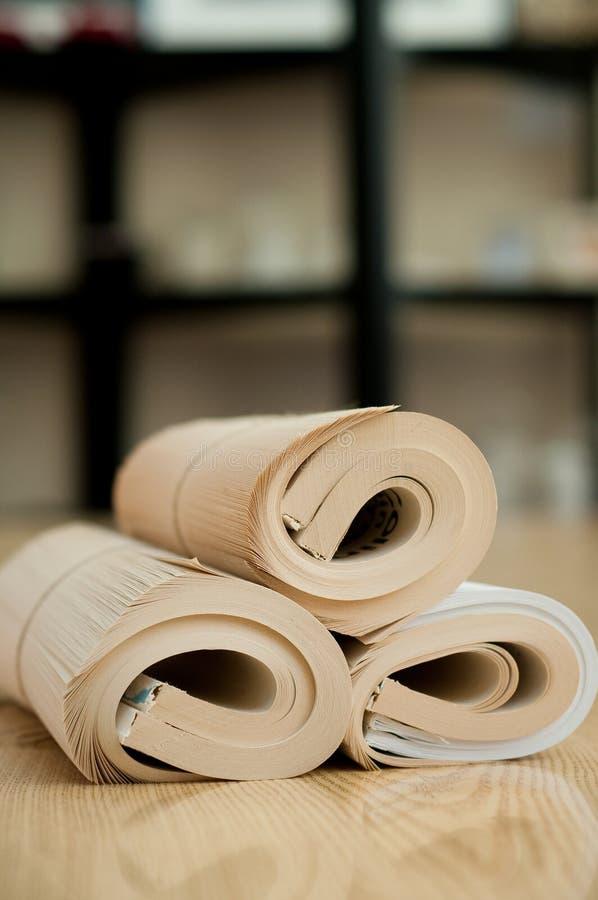 Libro rotolato fotografia stock