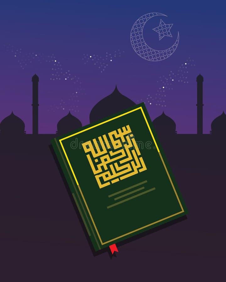 Libro sagrado del quran del Corán de la noche religiosa del Islam ilustración del vector