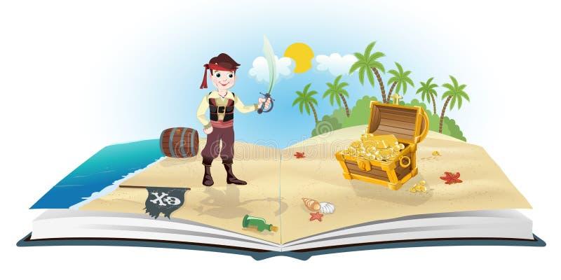 Libro sui pirati e sul tesoro royalty illustrazione gratis