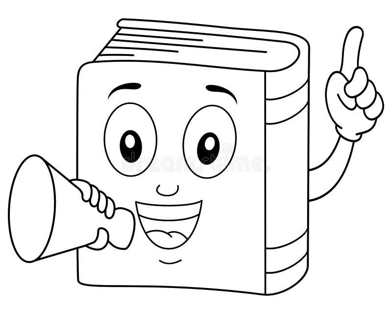 Libro sveglio di coloritura che tiene un megafono illustrazione di stock