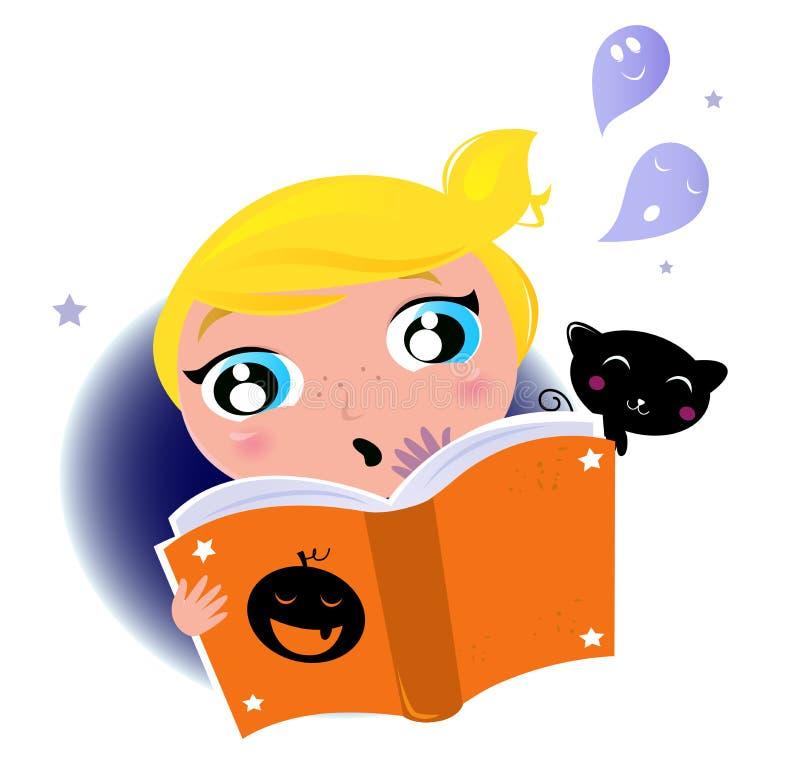 Libro sveglio di storia di Halloween della lettura del bambino royalty illustrazione gratis