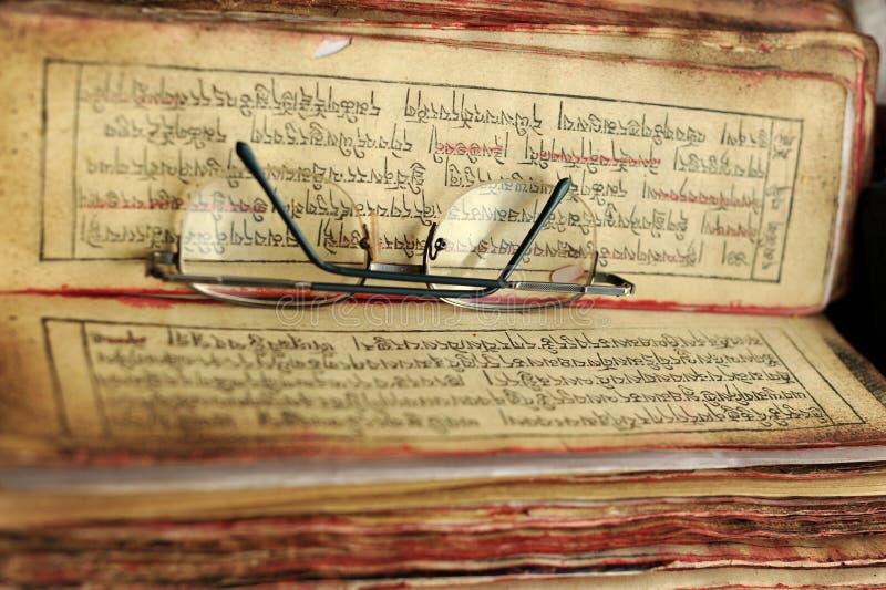 Libro tibetano immagine stock