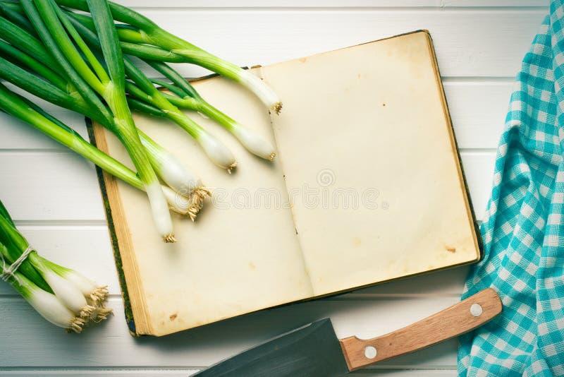 Libro viejo de la receta con la cebolla de la primavera fotografía de archivo