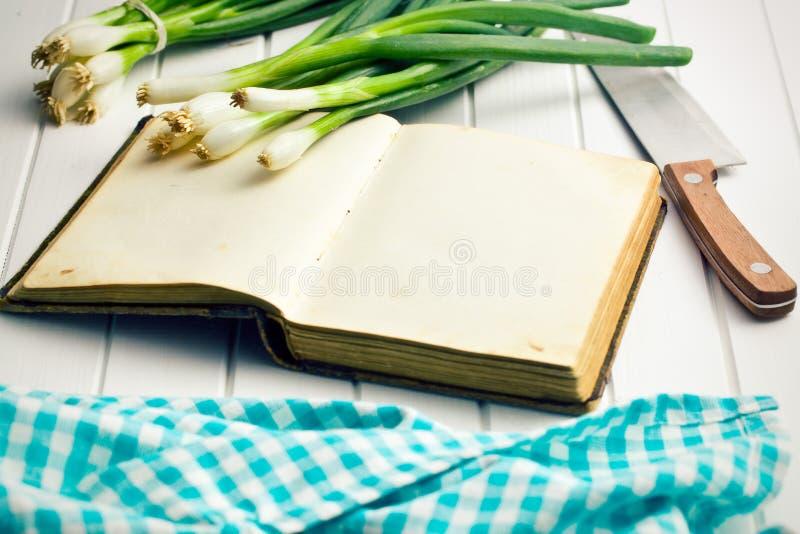 Libro viejo de la receta con la cebolla de la primavera imagen de archivo libre de regalías