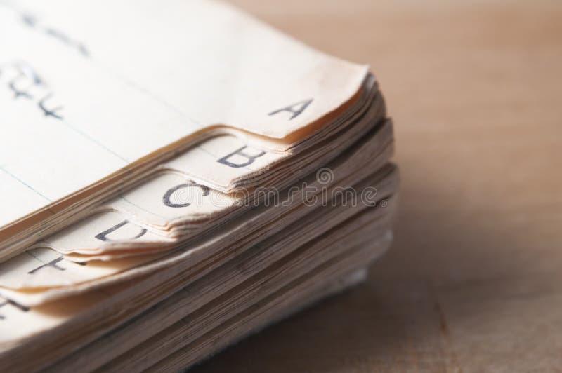 Libro viejo del índice imagen de archivo libre de regalías
