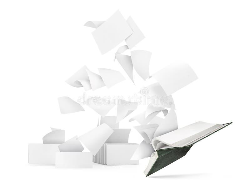 Libro vuoto con le pagine di volo isolate fotografia stock