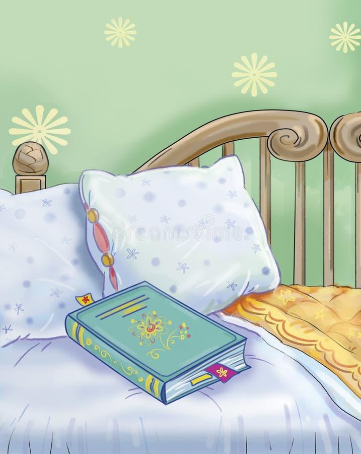 Libro y cama stock de ilustración